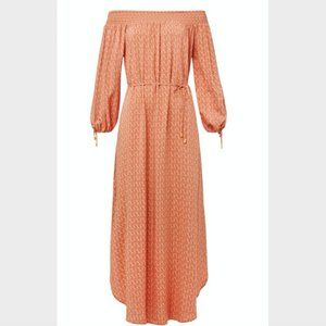 Seed Heritage Peach Orange Paisley Maxi Dress XS